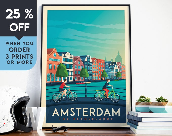 Amsterdam Netherlands Vintage Travel Poster, Wall Art Print, Minimalist, City Skyline, World Map Art, bike illustration, Home Decor, Gift