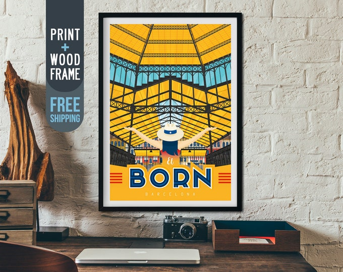Barcelona pain Vintage Travel Poster, Barcelona framed poster, Spain wall art, Barcelona home wall decoration, Spain gift idea, retro print