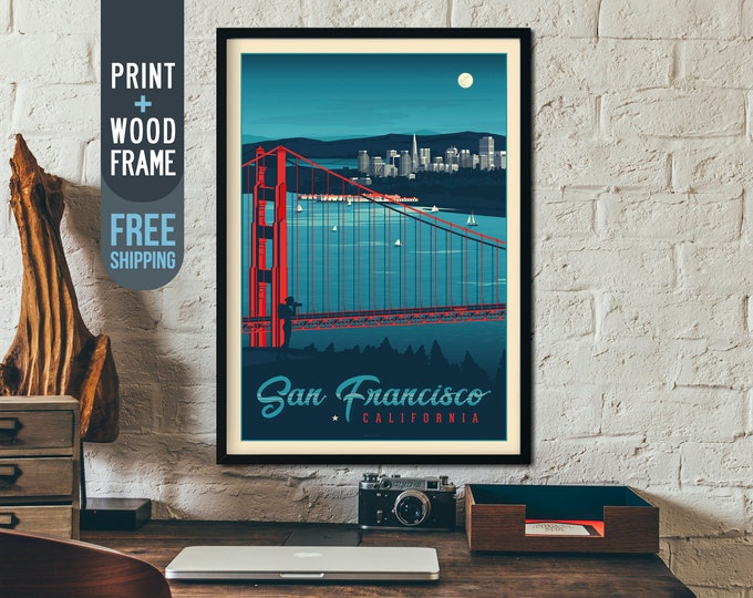 San Francisco - California USA - Vintage Travel Poster, framed poster, wall art, home decoration, wall decoration, gift idea, retro print