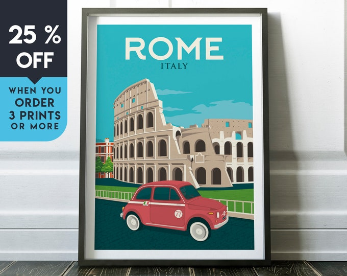 Rome Italy Vintage Travel Poster, Wall Art Print, Minimalist, City Skyline, World Map Art, Cityscape Car illustration, Home Decor, Gift