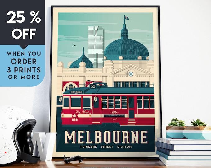 Melbourne Australia Vintage Travel Poster, Wall Art Print, Minimalist, City Skyline, World Map Art, Cityscape illustration, Home Decor, Gift