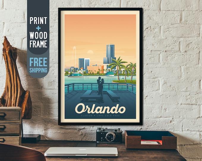 Orlando Florida Vintage Travel Poster, Orlando Florida framed poster, Tropical wall art, Florida home wall decoration, America gift idea