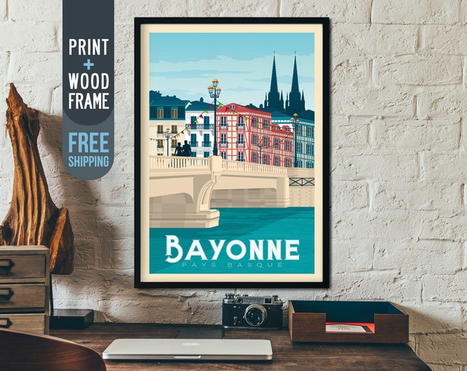 Bayonne France Travel Poster - Bayonne Basque Country retro print, Bayonne wall art, Bayonne home decoration, art deco print, framed poster
