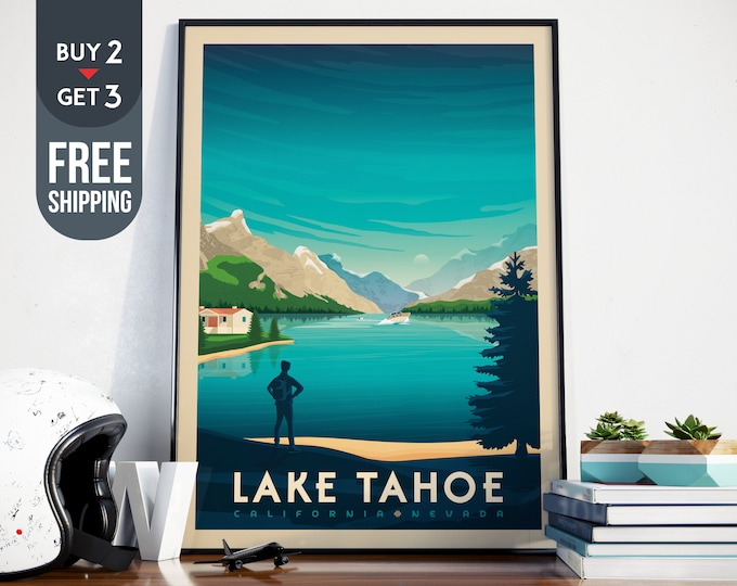 Lake Tahoe National Park Print - Lake Tahoe California Vintage Travel Poster, USA retro print, usa wall art, home decor, usa wall decoration