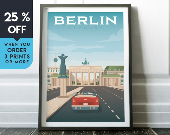 Berlin Germany Vintage Travel Poster, Wall Art Print, Minimalist, City Skyline, World Map Art, Cityscape illustration, Home Decor, Gift