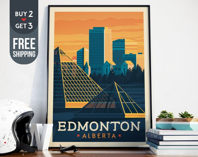 Edmonton Alberta Canada Vintage Travel Poster, vintage print, Canada wall art,Canada home decoration, wall decoration, Canadian gift idea