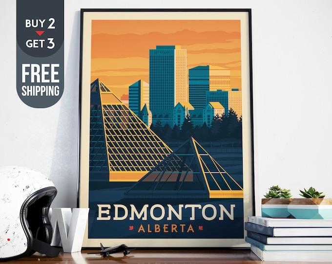 Edmonton Alberta Canada Vintage Travel Poster, vintage print, Canada wall art,Canada home decoration, wall decoration, Canadian gift idea