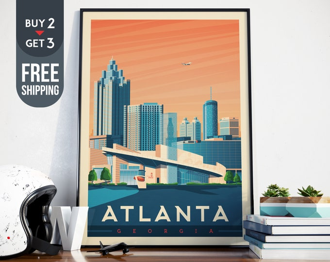 Atlanta Georgia USA Vintage Travel Poster, Atlanta vintage print, USA wall art, Atlanta decor, Coca Cola wall decoration, usa Travel decor