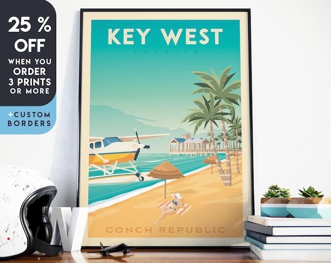 Key West Print | Key West Vintage Travel Poster | Florida Keys Print | Surf print | Beach Poster | City Skyline Wall Art | Home Decor | Gift