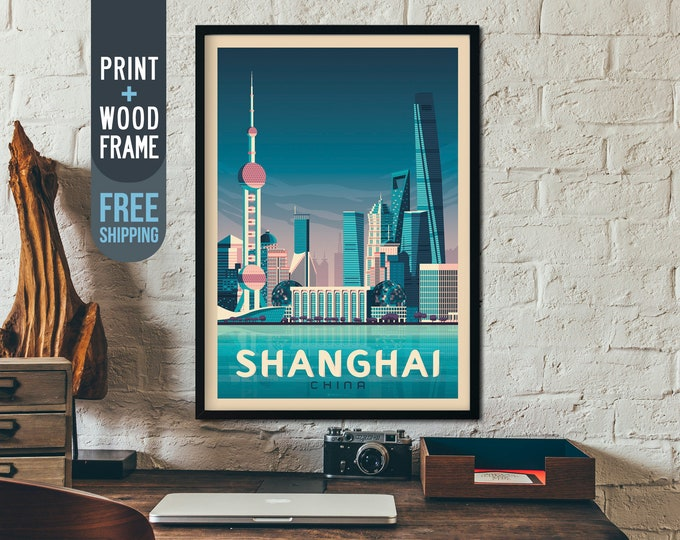 Shanghai China Asia Travel Poster, Shanghai framed print, Shanghai Skyline wall art, Shanghai home wall decoration, gift idea, retro print