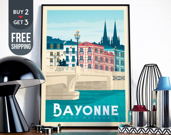Bayonne France Travel Poster - Bayonne France vintage print, Bayonne France wall art, Bayonne home decoration, France wall art, decor print
