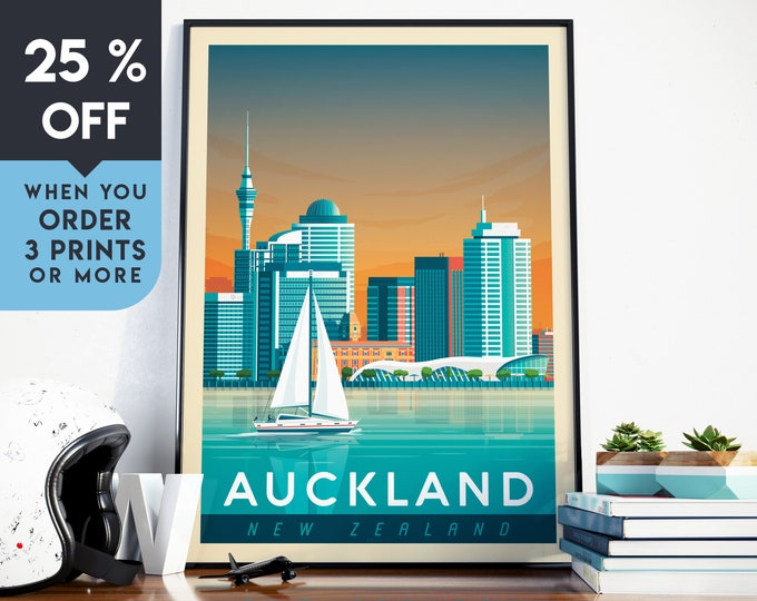 Auckland New-Zealand Vintage Travel Poster, Wall Art Print, Minimalist, City Skyline, World Map Art, illustration, Home Decor, Gift Idea