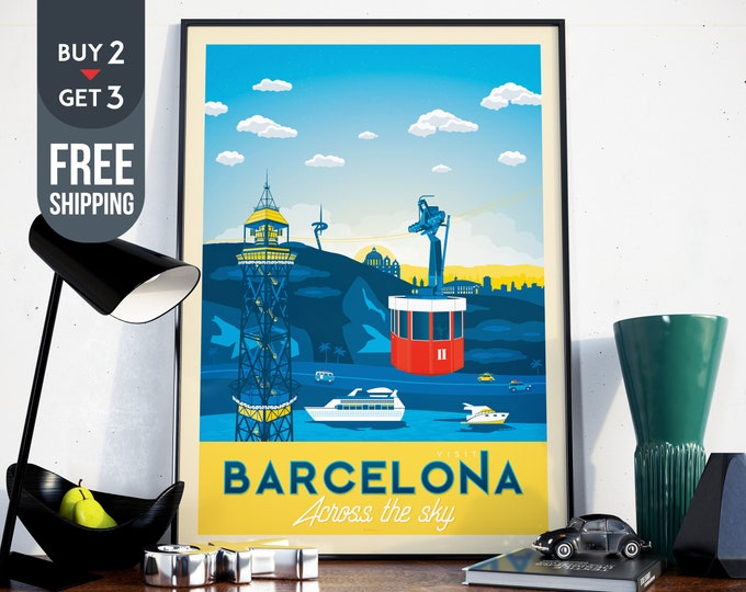 Barcelona Spain Print - Barcelona Vintage Travel Poster print, spain city  wall art, sky sunart print, home wall decoration, spain gift idea