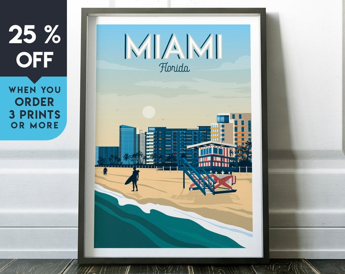 Miami Beach Florida Vintage Travel Poster, Wall Art Print, Minimalist, City Skyline, World Map Art, Surf Palm illustration, Home Decor, Gift
