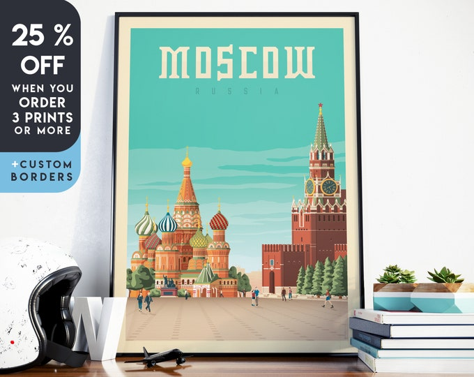 Moscow Print | Moscow Vintage Travel Poster | Russia Print | Moscow Poster | Russia Poster | Skyline Wall Art | Home Decor | Gift