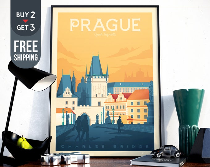 Prague Czech Republic Travel Poster, Prague Retro wall art print, Prague Skyline, Prague artistic Map signs, interior home decor, gift idea