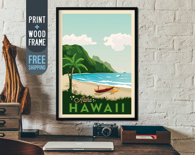 Hawaii Island Polynesia Travel Poster - Hawaii Surf Vintage Travel Poster, vintage print, Hawaii wall art, home decoration, art deco print