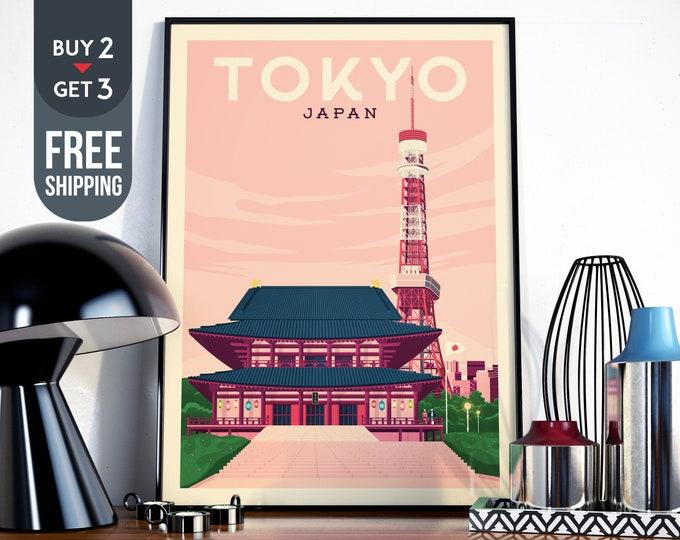 Tokyo Japan Asia Vintage Travel Poster, Tokyo Japan vintage print, Japan wall art, home decor, Tokyo skyline, asia wall decor, travel decor