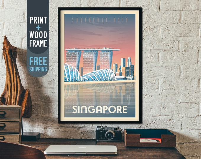 Singapore Asia Print - Singapore Travel Poster, Shanghai framed poster, wall art, home decoration, wall decoration, gift idea, retro print