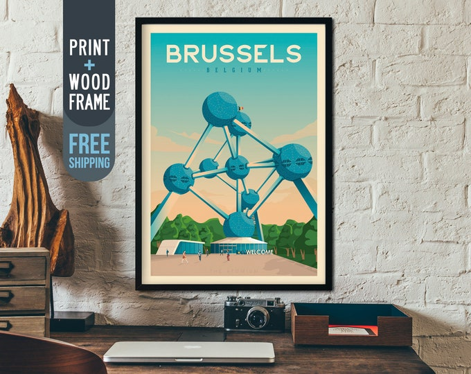 Brussels Belgium Vintage Travel Poster, Brussels Belgium framed print, Brussels wall art, Brussels skyline, home wall decoration, gift idea