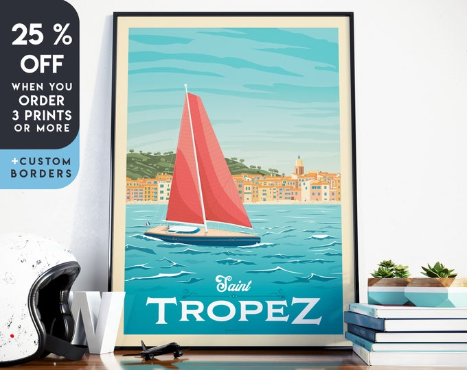Saint Tropez Print | St Tropez Vintage Travel Poster | France Print | beach Poster | France Poster | Skyline Wall Art | Home Decor | Gift