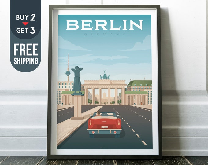 Berlin Germany Print - Berlin Travel Poster, Brandenburg Gate print, wall art, home decoration, Berlin city illustration, Berlin Germany map