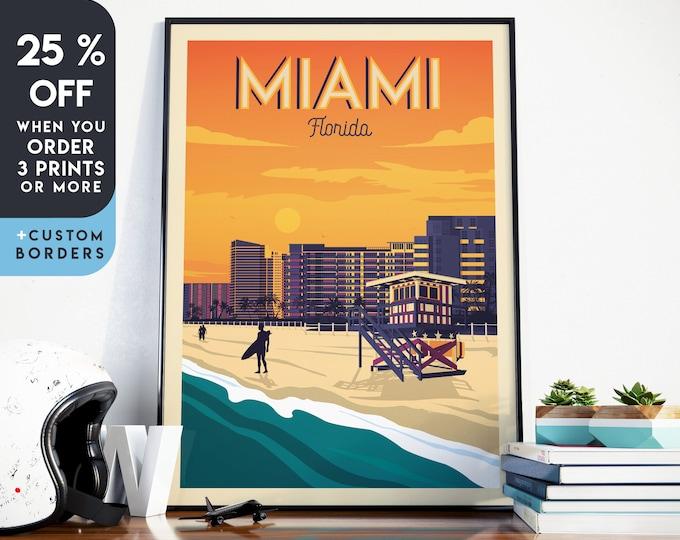 Miami Print | Miami Vintage Travel Poster | Miami Florida Print | Miami Beach Poster | Miami City Skyline Wall Art | Home Decor | Gift