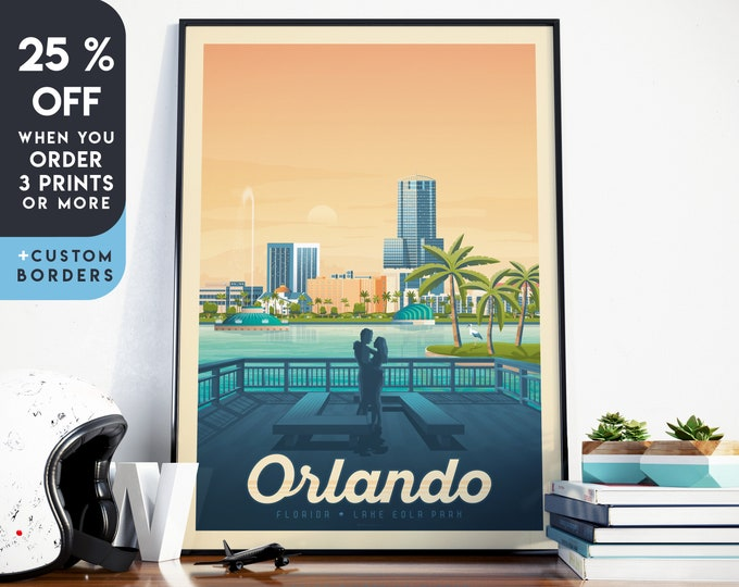 Orlando Print | Orlando Vintage Travel Poster | Florida Print | Palm Tree Print | Romantic Poster | Skyline Wall Art | Home Decor | Gift