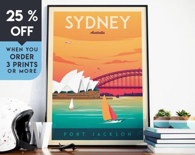 Sydney Australia Vintage Travel Poster, Wall Art Print, Minimalist, City Skyline, World Map Art, Beach Surf illustration, Home Decor, Gift