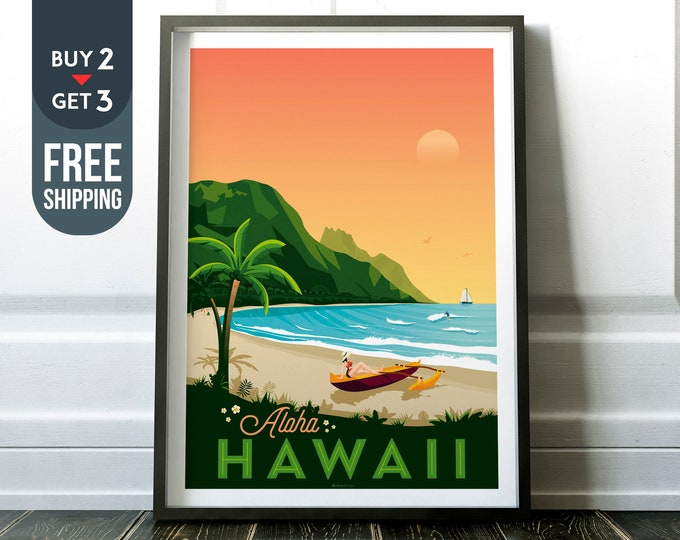 Hawaii Island Print Vintage Travel Poster, Hawaii retro print, USA wall art, beach home decor, surf wall decoration, Tropical travel decor