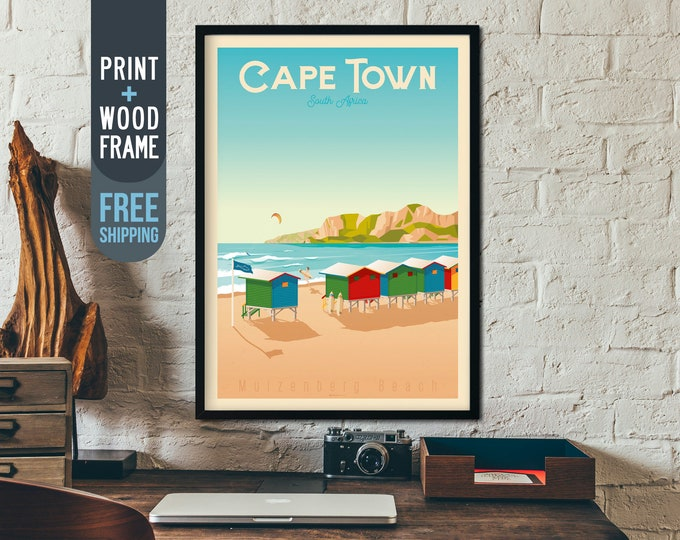 Cape Town Vintage Travel Poster, Cape Town South Africa framed poster, Africa wall art, Cape Town home wall decoration, Africa gift idea
