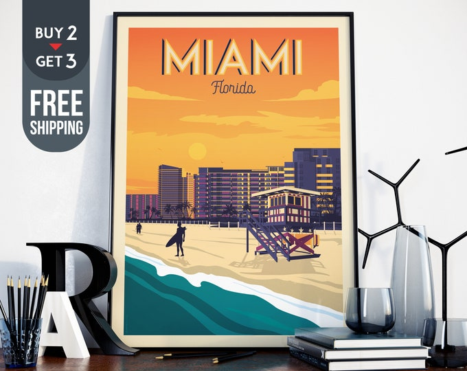 Miami Florida USA America Vintage Travel Poster, Miami vintage print, usa wall art, travel decor, USA wall decor, surf poster, beach print