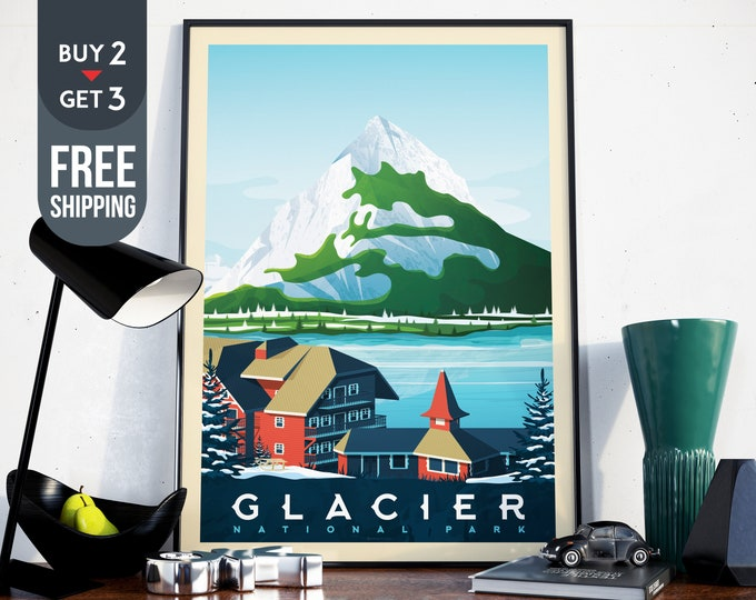 Glacier National Park Print - Vintage Travel Poster, usa retro print, usa wall art, National Park decor, USA wall decoration, gift idea
