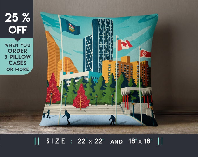 Calgary Canada Pillow Case - Cushion [22x22] Travel Art Print, Geometry Minimalist, City Skyline, Cityscape illustration, Decor, Gift