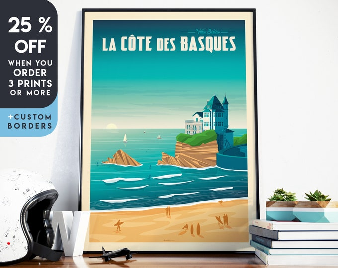 Biarritz Print | Biarritz Vintage Travel Poster | France Print | Beach Poster | Surf Poster | City Skyline Wall Art | Home Decor | Gift