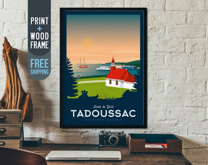 Tadoussac Canada Quebec Vintage Travel Poster, framed poster, Canada wall art, home wall decoration, Canada gift idea, Canada retro print