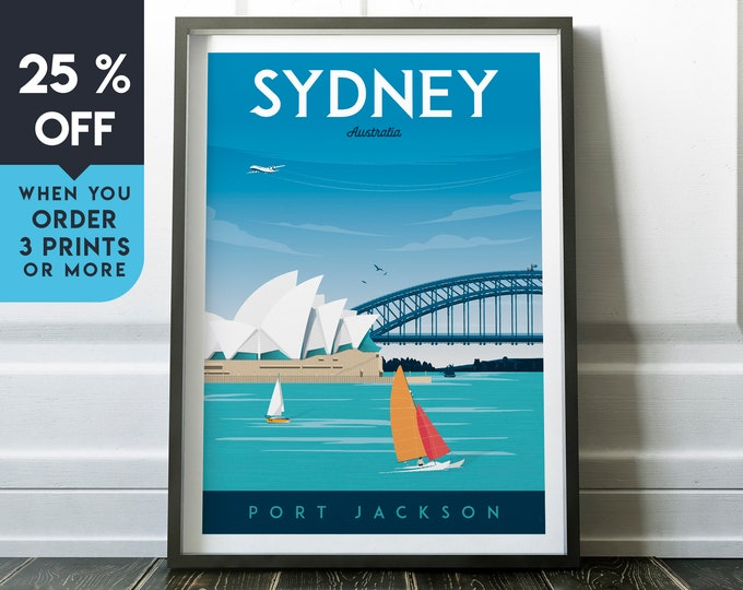 Sydney Vintage Travel Poster, Wall Art Print, Minimalist, City Skyline, World Map Art, Cityscape Sailing illustration, Home Decor, Gift