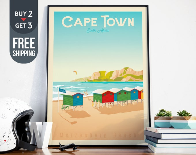 Cape Town Travel Poster, Vintage Cape Town print, Africa wall art, beach home decor, surf wall decoration, Tropical travel decor