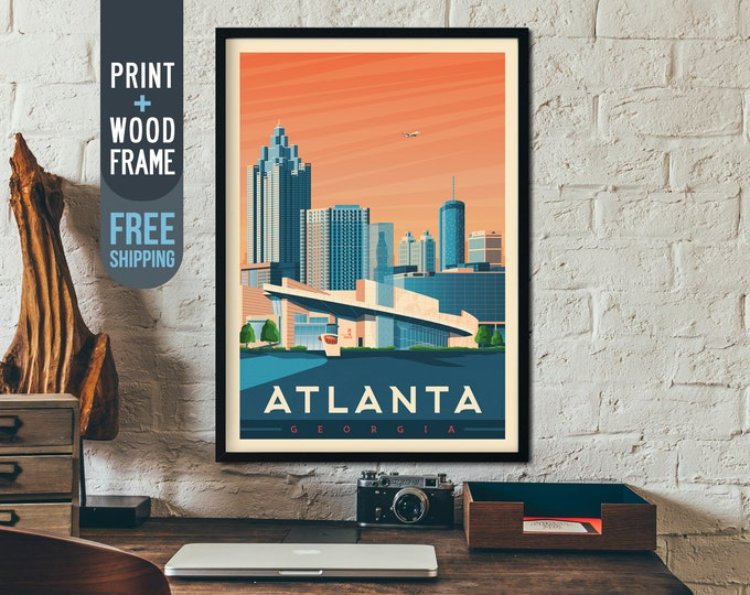Atlanta Georgia Vintage Travel Poster, usa framed poster, usa wall art, home decoration, wall decoration, gift idea, retro print