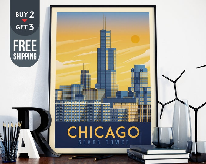 Chicago Sears Tower Travel Poster,Chicago Sears Tower vintage print, Chicago usa wall art, Chicago home decoration, USA Travel Decor