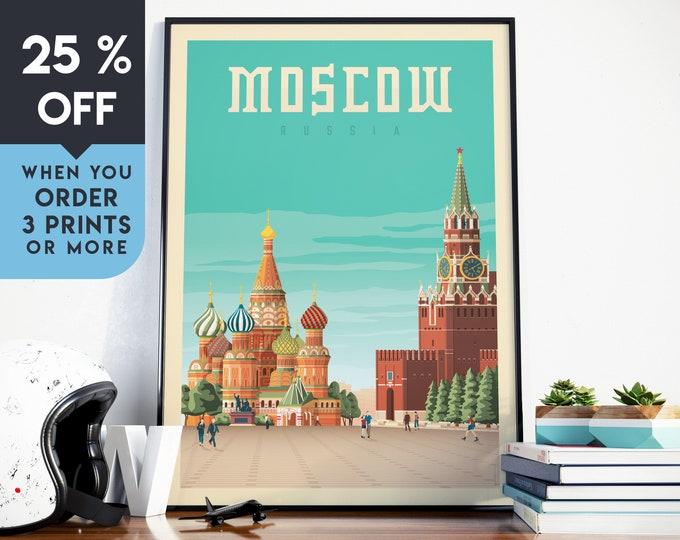 Moscow Russia Vintage Travel Poster, Wall Art Print, Minimalist, City Skyline, World Map Art, Cityscape illustration, Home Decor, Gift Idea