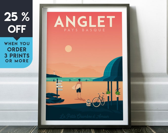 Anglet Vintage Travel Poster, Wall Art Print, Minimalist, Retro Skyline, World Map Art, Beach Surf Seascape illustration, Home Decor, Gift