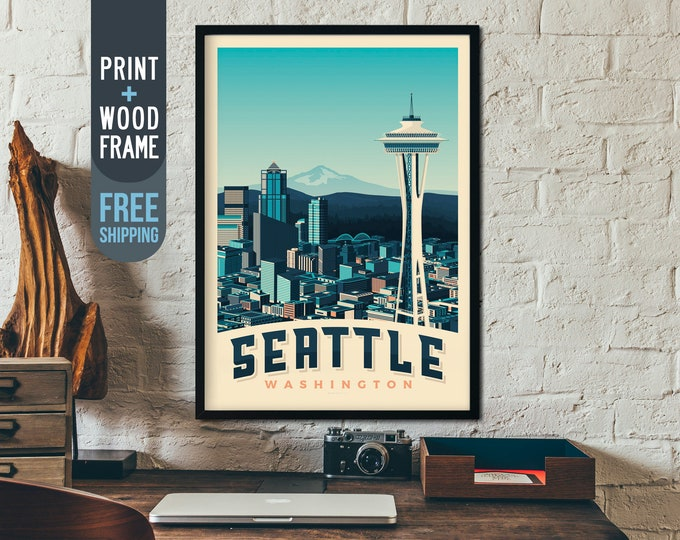 Seattle Washington State USA Travel Poster, vintage print, framed poster, wall art, home decoration, wall decoration, gift idea, retro print