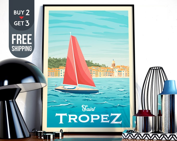 Saint Tropez France Travel Poster - Saint Tropez vintage print, Beach Sea Ocean Skyline wall art, French Riviera home decoration, art decor
