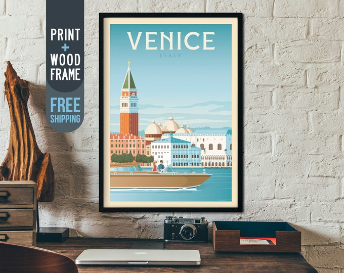 Venice Italy Vintage Travel Poster, Venice Italy framed poster, Venice Italy wall art, Venice Italy home wall decoration, Italy gift idea