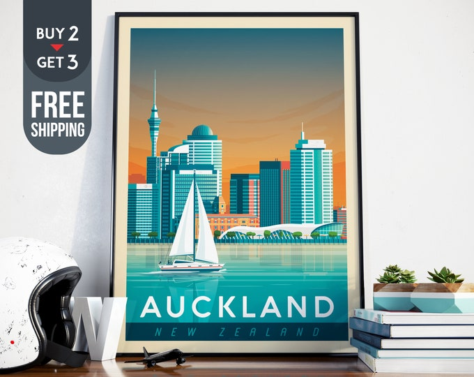 Auckland New-Zealand Print - Auckland Travel Poster, Auckland vintage illustration print, sailing, New Zealand wall art print, home decor