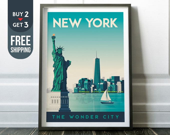 New York City USA Manhattan Vintage Travel Poster, New York City vintage print, USA wall art, NYC decor, wall decoration, usa Travel decor