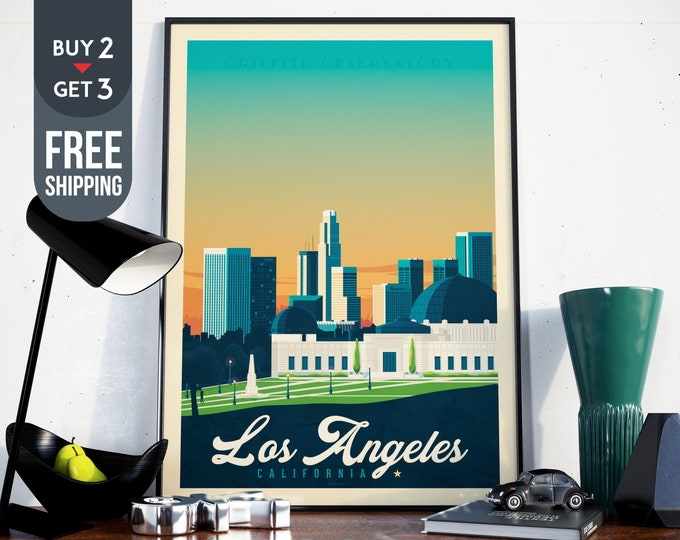 Los Angeles California travel Poster - Vintage Los Angeles skyline print, California vintage print, California wall art decor, USA gift idea