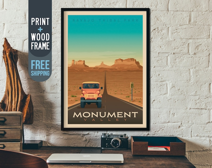 Monument Valley National Park Print - Arizona Utah Travel Poster, framed poster, wall art, home decor, wall decor, gift idea, retro print