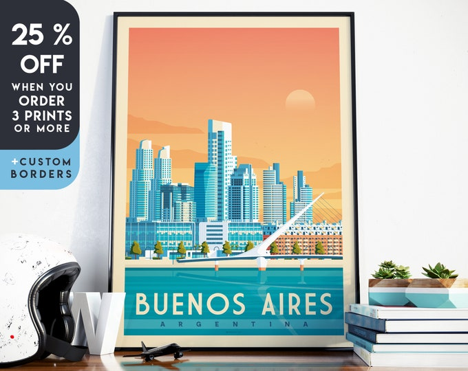 Buenos Aires Print | Buenos Aires Vintage Travel Poster | Argentina Print | Buenos Aires Poster | City Skyline Wall Art | Home Decor | Gift